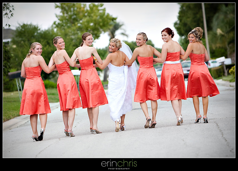 Bride and bridesmaids walking down the street in St. Petersburg, Florida.