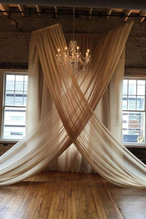 backdrop with hung voile in champagne   someday my prince