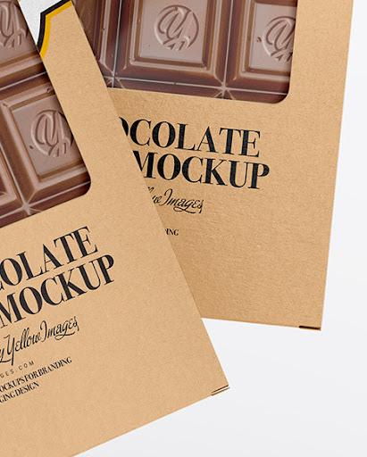 Download Glossy Chocolate Box W Window Mockup Front View