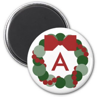 Geometric Christmas Wreath Magnet with Monogram