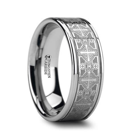 DEACON Flat Grooved Tungsten Ring with Engraved Intricate
