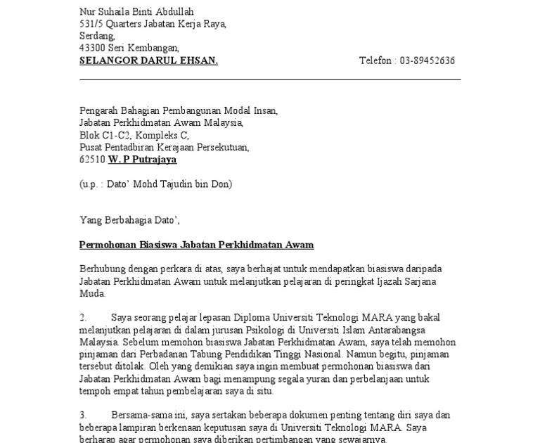 Contoh Surat Rasmi Rayuan Biasiswa Rasmi B