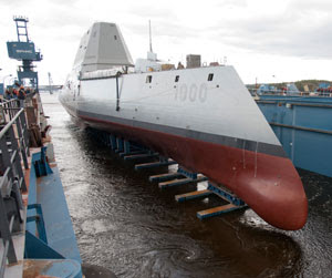 The ship began its translation from Bath Iron Works' land-level construction facility to a floating dry dock on Friday. Once loaded into the dry dock, the dock was flooded and the ship was removed from its specially designed cradle. By late Monday, the dock had been flooded and the ship was floated off and tied to a pier on the Kennebec River. Photo: General Dynamics