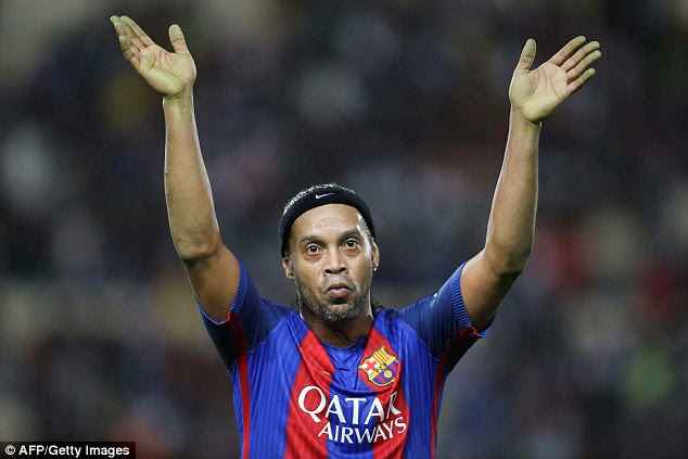 The crafty Brazilian, pictured in a Legends match last year, achieved hero status at Barcelona