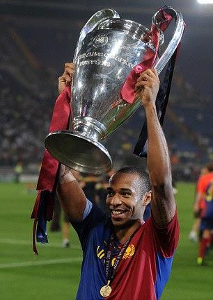 THIERRY HENRY: 7 trophies (all Barcelona) La Liga: 2009, 2010 Copa del Rey: 2009 Supercopa de Espana: 2009 Champions League: 2009 UEFA Super Cup: 2009 FIFA Club World Cup: 2009