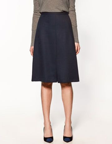 Zara Skirt With Front Pleat