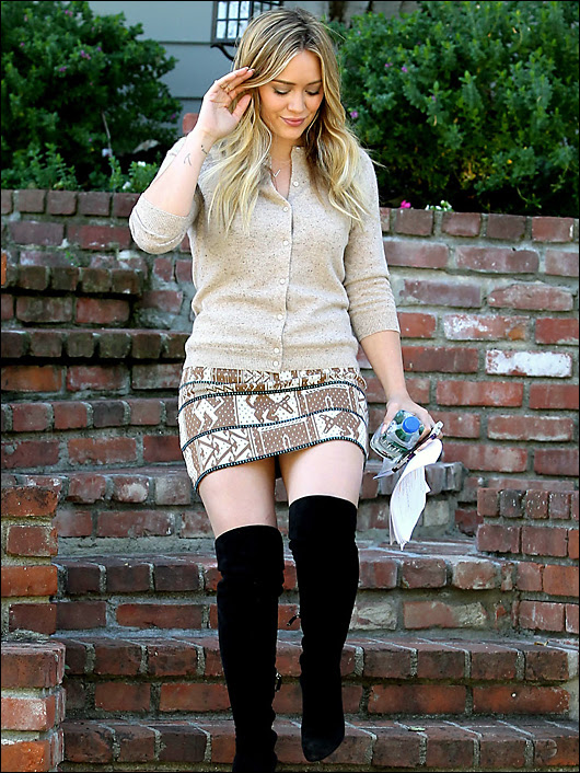 hilary duff in short skirt and boots