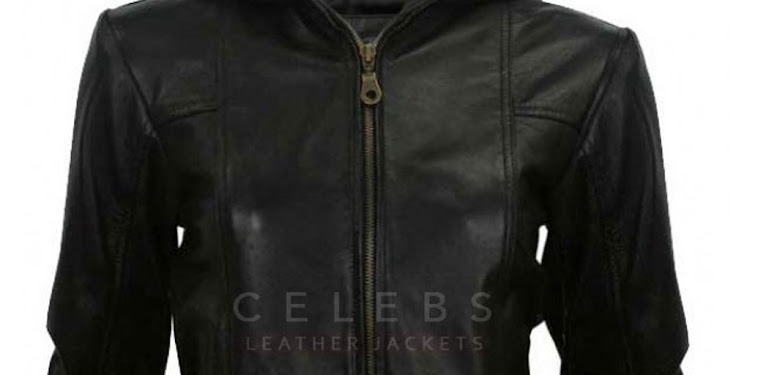 Womens Black Leather Jacket With Hoodie