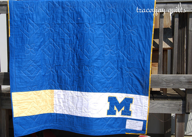 University of Michigan quilt back