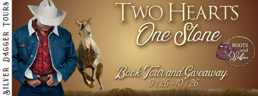 Book Tour Banner for Western romance Two Hearts, One Stone from the Boots and Babies Series by Leslie Scott with a Book Tour Giveaway