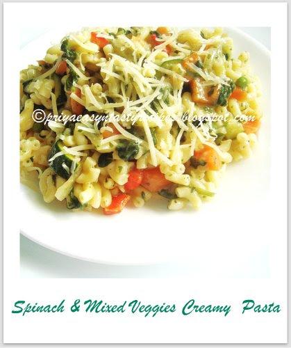 Spinach & Mixed veggies pasta