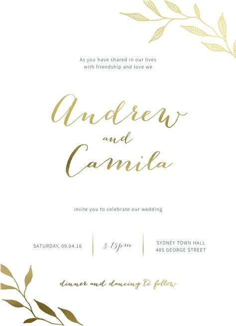 Leaves   Real Foil   Wedding Invitations