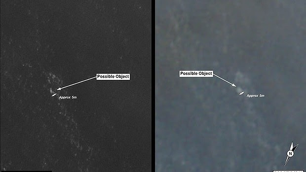 The satellite images released by the Department of Defence.
