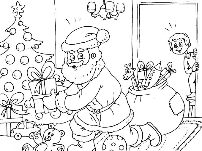 Santa Claus Dejando Los Regalos Para Imprimir Paracolorearnet