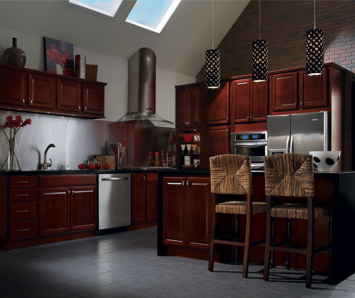 Maple Wood Cabinets with White Kitchen Island - Homecrest