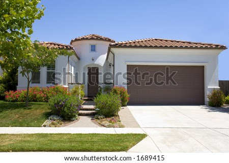 Exterior Shot Of A Newer Spanish Style Home Built In California ...