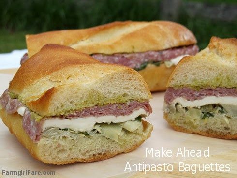 Make Ahead Antipasto Baguette Sandwiches with artichokes, mozzarella, green olives, and salami - FarmgirlFare.com