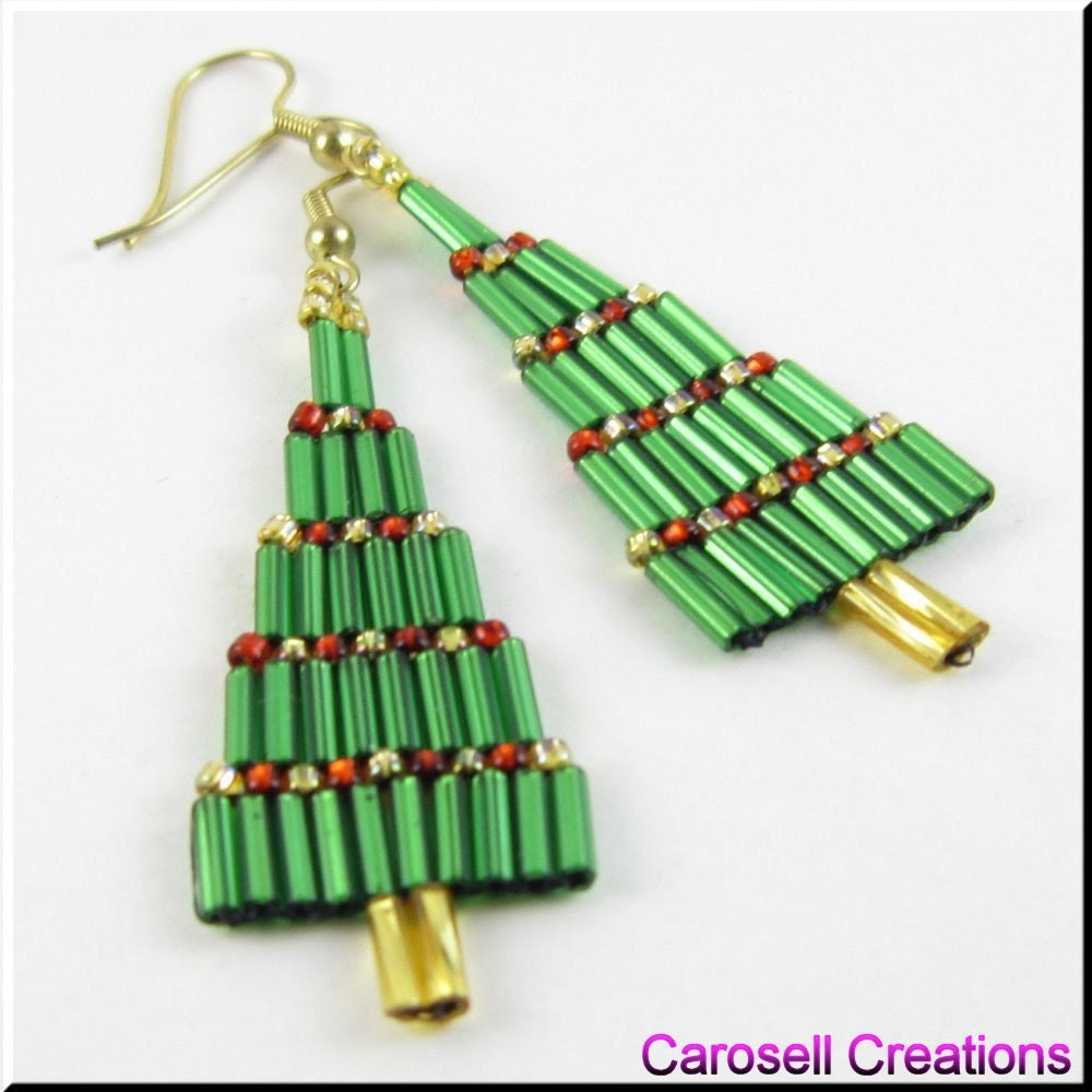 Christmas Bugle Tree Dangle Beadwork Seed Bead Earrings - carosell