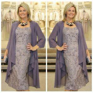 purple mother   bride dress tea length lace