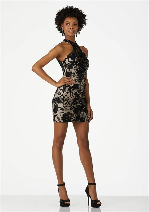 Form Fitting Three Dimensional Lace Party Dress with