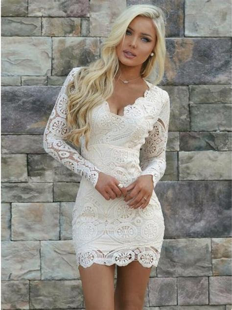 sheath  neck long sleeves open  short white lace