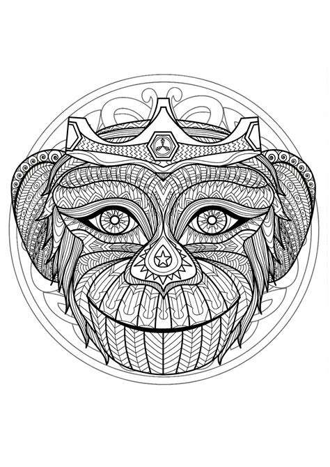 mandala tete singe  mandalas coloriages difficiles