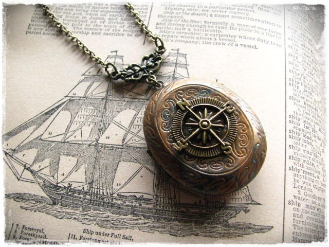 """Compass Locket Necklace """"The Journey"""" Pirate Steampunk - bittenanddazzled"""