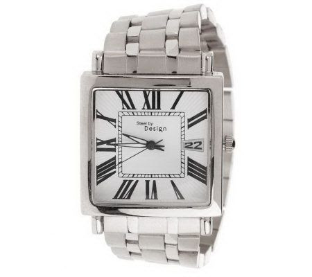 Steel By Design Bold Square Face Bracelet Watch With Date On Popscreen