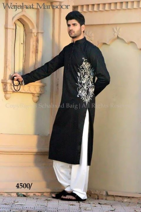 Wajahat-Mansoor-Latest-Summer-Eid-Kurta-Pajama-Salwar-Kameez-Collection-2013-Mens-Boys-6