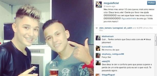 21.abr.2014 - MC Gui usou o Instagram ara lamentar a morte do irmão