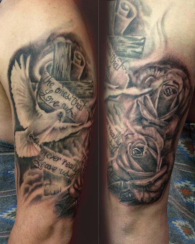 Holy Spirit Tattoodovewooden Crosswritingrosesrose Tattoos