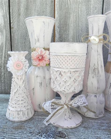 Burlap and Lace Pink Shabby Chic Vase Collection, Wedding