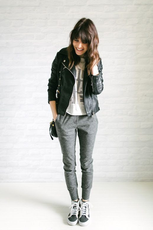Le Fashion Blog Blogger Style Casual Look Leather Moto Jacket Graphic Tee Grey Jogger Pants Sneakers Via Unfancy