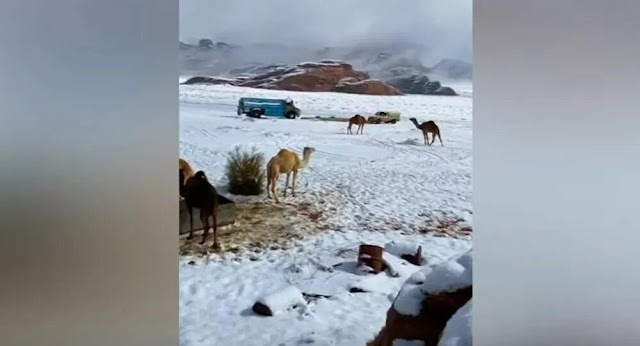 How snow could fall on hot, desert-covered land!!! snowfall in Saudi Arabia.