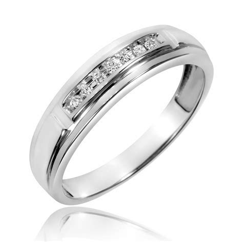 1 1 15 Carat T.W. Diamond Men s Wedding Band 10K White
