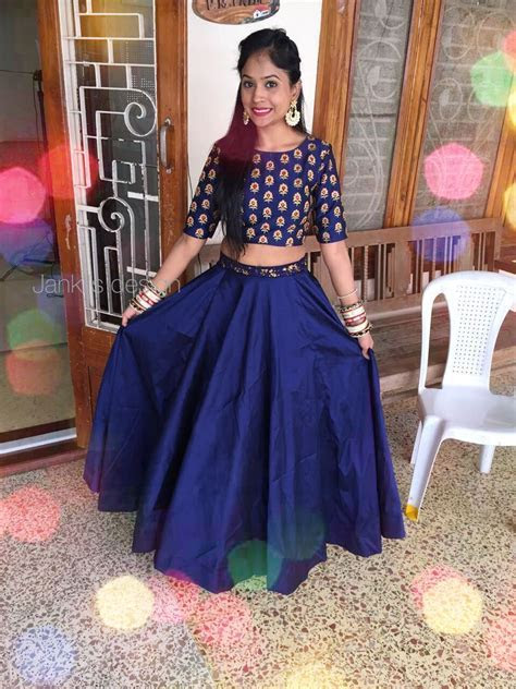 Blue Indian crop top for wedding by Janki's design   skirt