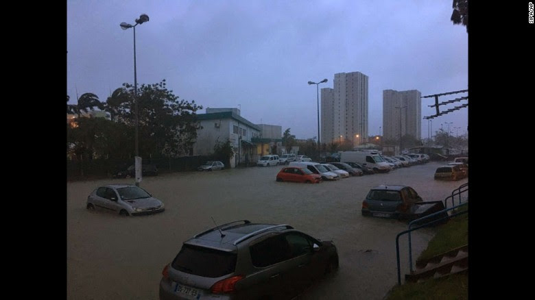 Hurricane Maria caused widespread flooding Tuesday in Point-A-Pitre, Guadeloupe.