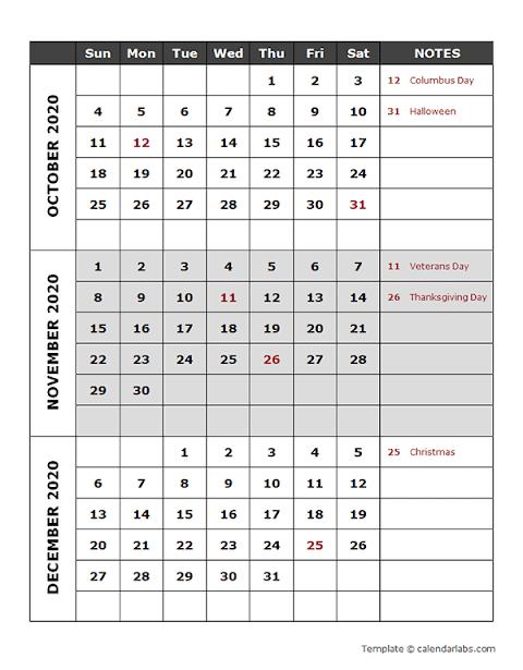Printable 2020 Calendar Template Word