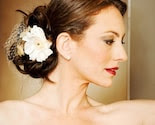 White silk hair flowers with french netting and millinery bee