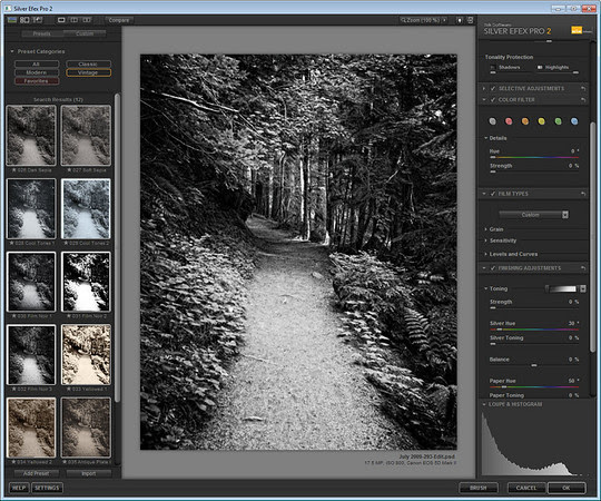 User Interface Comparision - Mouse over to see BW Effects, mouse out to see Silver Efex Pro
