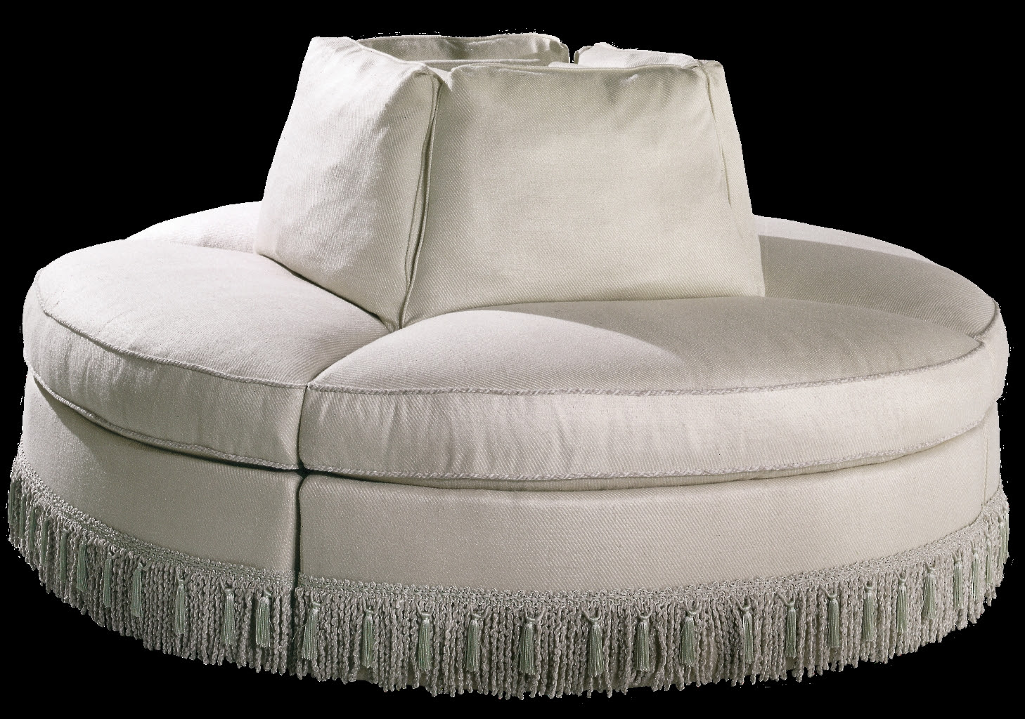 artistic white round settee design with sectional idea with cone backrests design and horse tail decoration on the leg