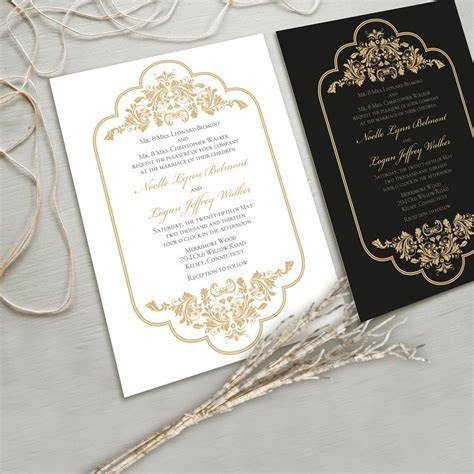 Timeless and Elegant Wedding Invitation Suite, White and