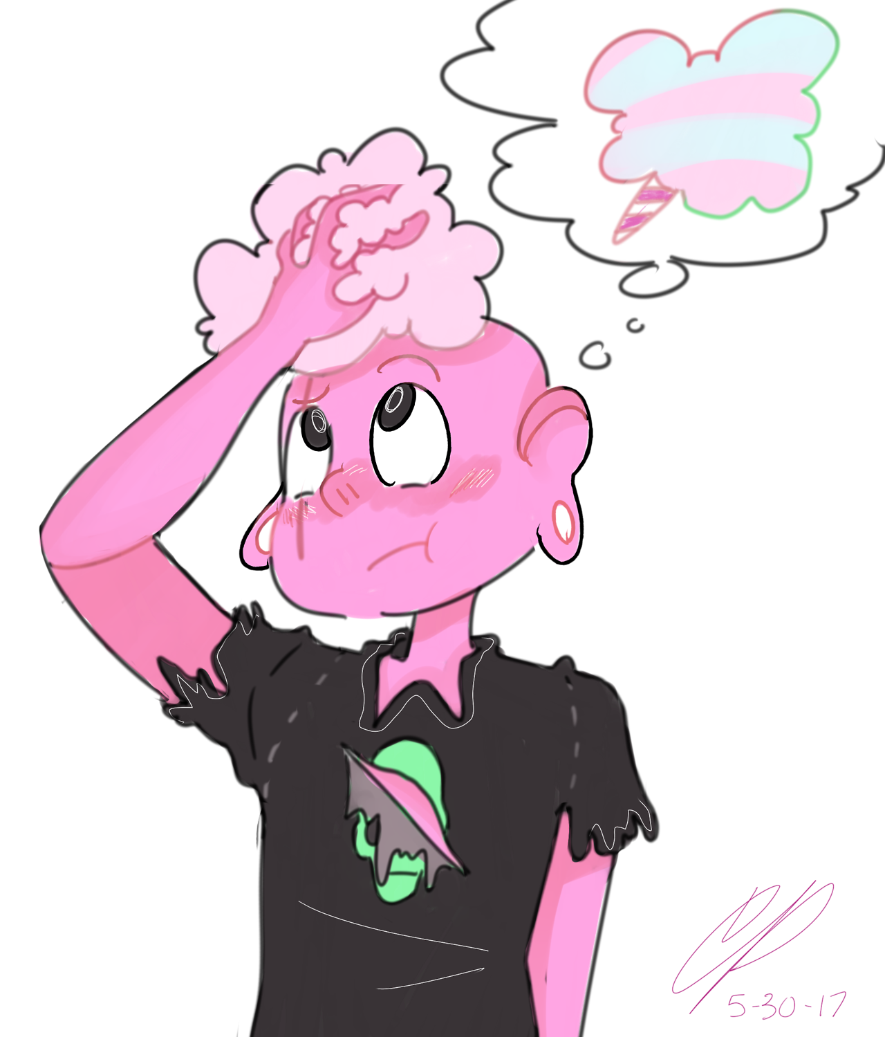 When I look at him I think about cotton candy?????? Just a quick little doodle to celebrate Steven Bomb 6