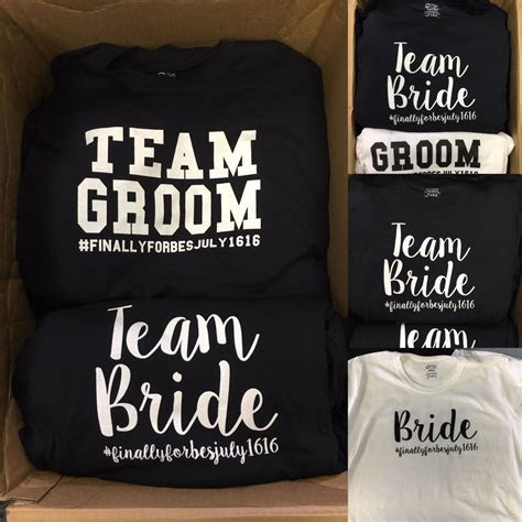 Bride and groom tshirts, bridal party shirts, team bride