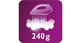Abur continuu de până la 120 g/min şi jet de abur de 240 g