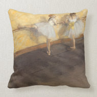 Dancers Practicing at the Barre by Edgar Degas throwpillow