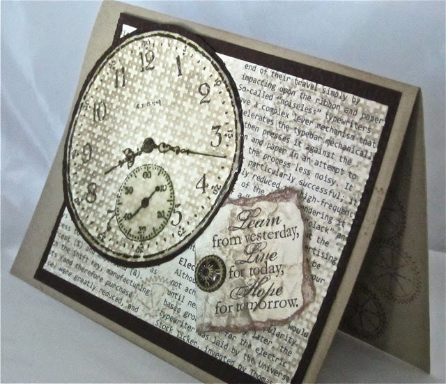 Thinking of you card steampunk blank stamped clocks gears handmade brown kraft embellished stationery greeting card home and living