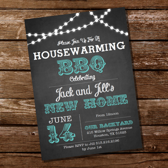 Chalkboard Housewarming BBQ Invitation Housewarming Party by ...
