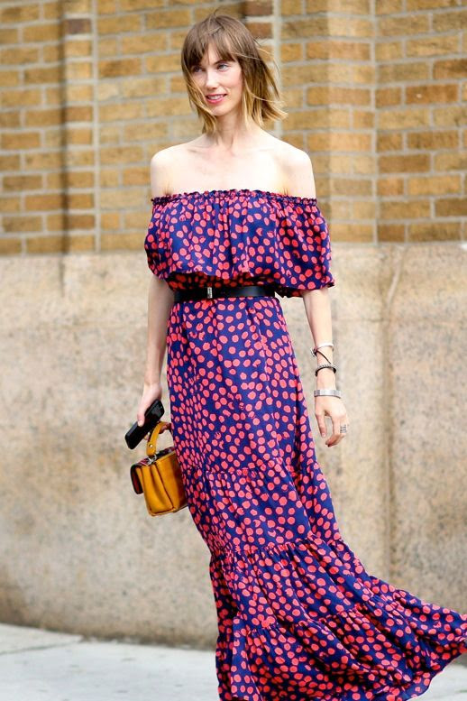 Le Fashion Blog Street Style Anya Ziourova Vibrant Off The Shoulder Maxi Dress Black Belt Tan Mini Bag Nyfw Via Popsugar