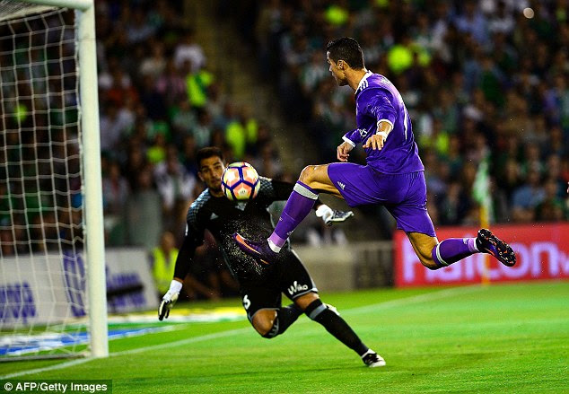 Ronaldo tries to find a route past Betis goalkeeper Antonio Adan at the Benito Villamarin